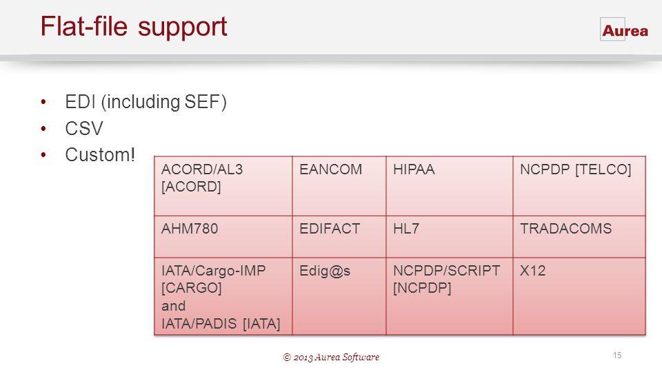 Flat-file support EDI (including SEF) CSV Custom! ACORD/AL3 [ACORD]